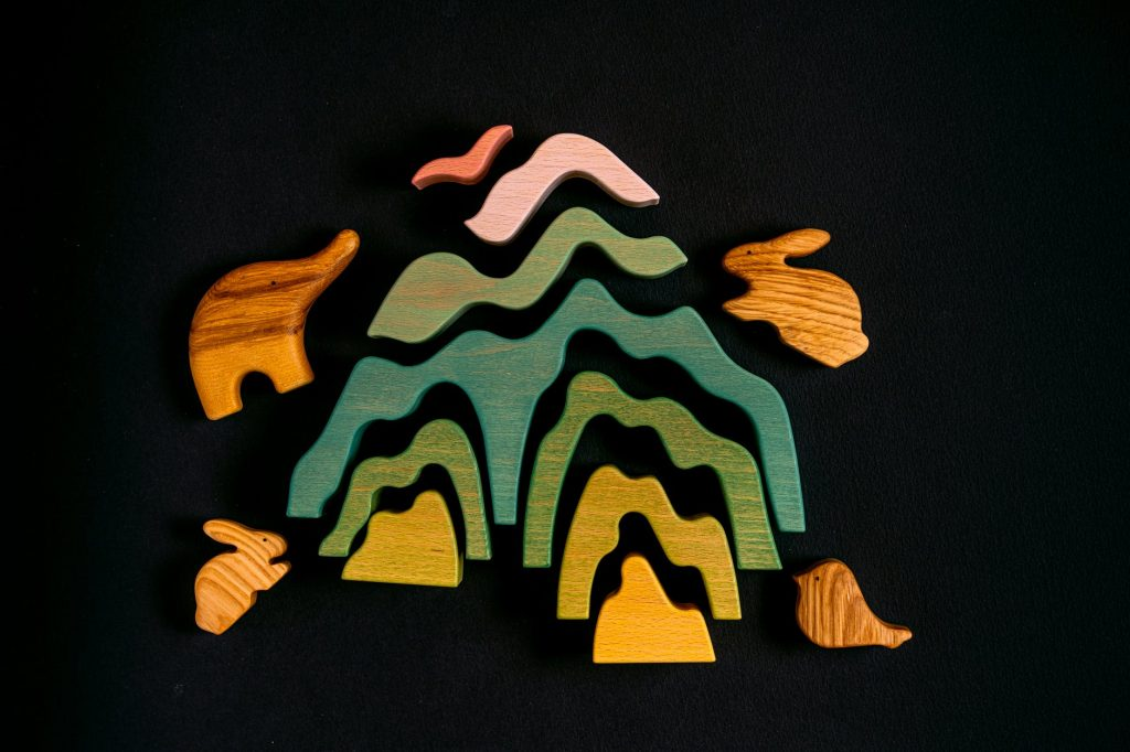 wooden mountain stackers and wooden animal toys